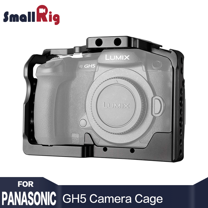 SmallRig DSLR Camera Cage For Panasonic Lumix GH5 With Cold Shoe Mount 1/4 3/8 Thread Holes  2049 smallrig camera cage for blackmagic pocket cinema camera bmpcc 1665
