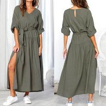 KANCOOLD Dress Women Long Sleeve V Neck Split Solid Sashes fashion Dresses Ladies Casual Loose Maxi dress women 2018AUG3