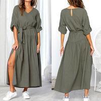 Kancohold Платье женское с длинным рукавом с v-образным вырезом Сплит однотонные ленты модные платья женские, повседневные, свободные макси плат...