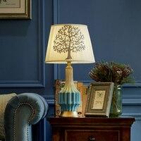 Retro Table Lamp With Embroidery Fabric Lampshade LED Lamparas De Mesa Ceramic Desk Light E27 Hotel