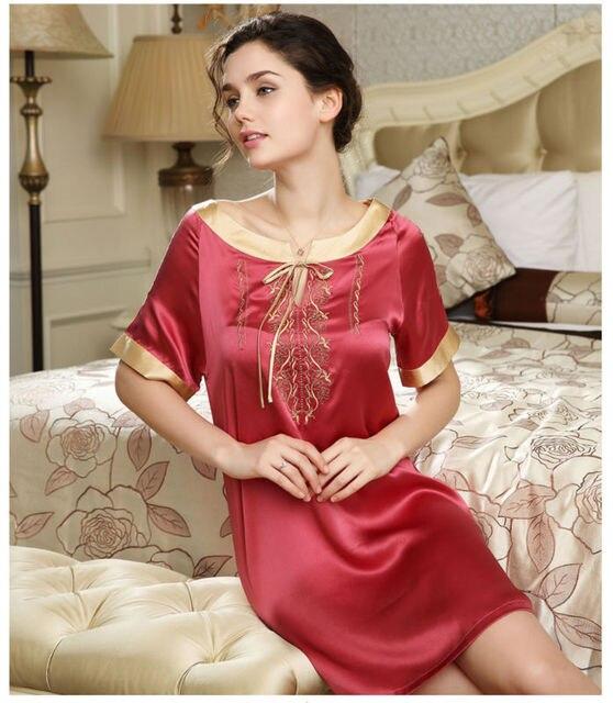 100% pure silk nightgowns women Sexy sleepwear Home dresses SILK nightdress SATIN nightie Summer style Embroidery dress
