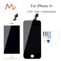 M & C AAA LCD pantalla para iPhone 5S reemplazo reparación pantalla táctil de la Asamblea no dead pixel blanco negro + 5 s Vidrio Templado
