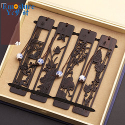 Hollow Bookmark Ancient Redwood Bookmark Set Ebony Wooden Retro Chinese Creative Gift Custom Wood Bookmark M046