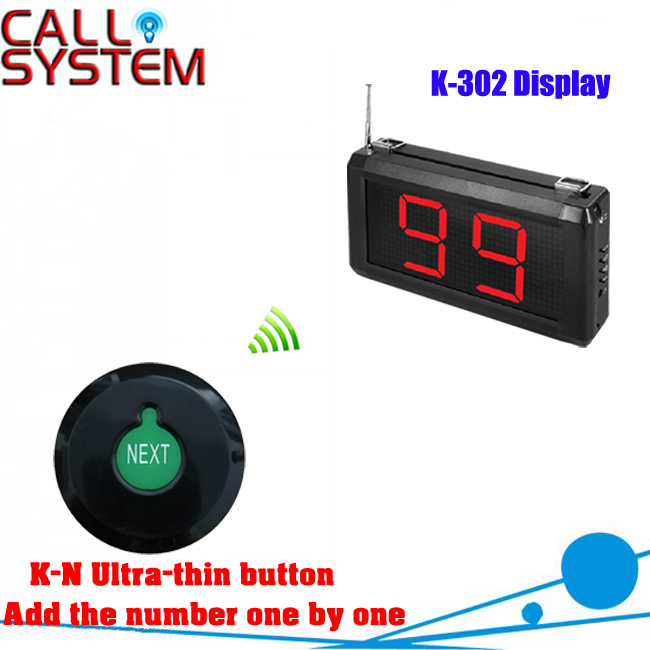 Queue Calling System with K N Ultra thin button can add the number one by one
