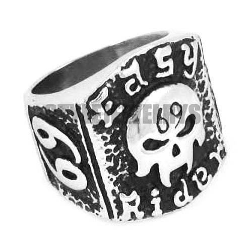 Free shipping! Easy Rider 69 ER Skull Motor Biker Ring Stainless Steel Jewelry Fashion Motorcycles Biker Men Ring SWR0314