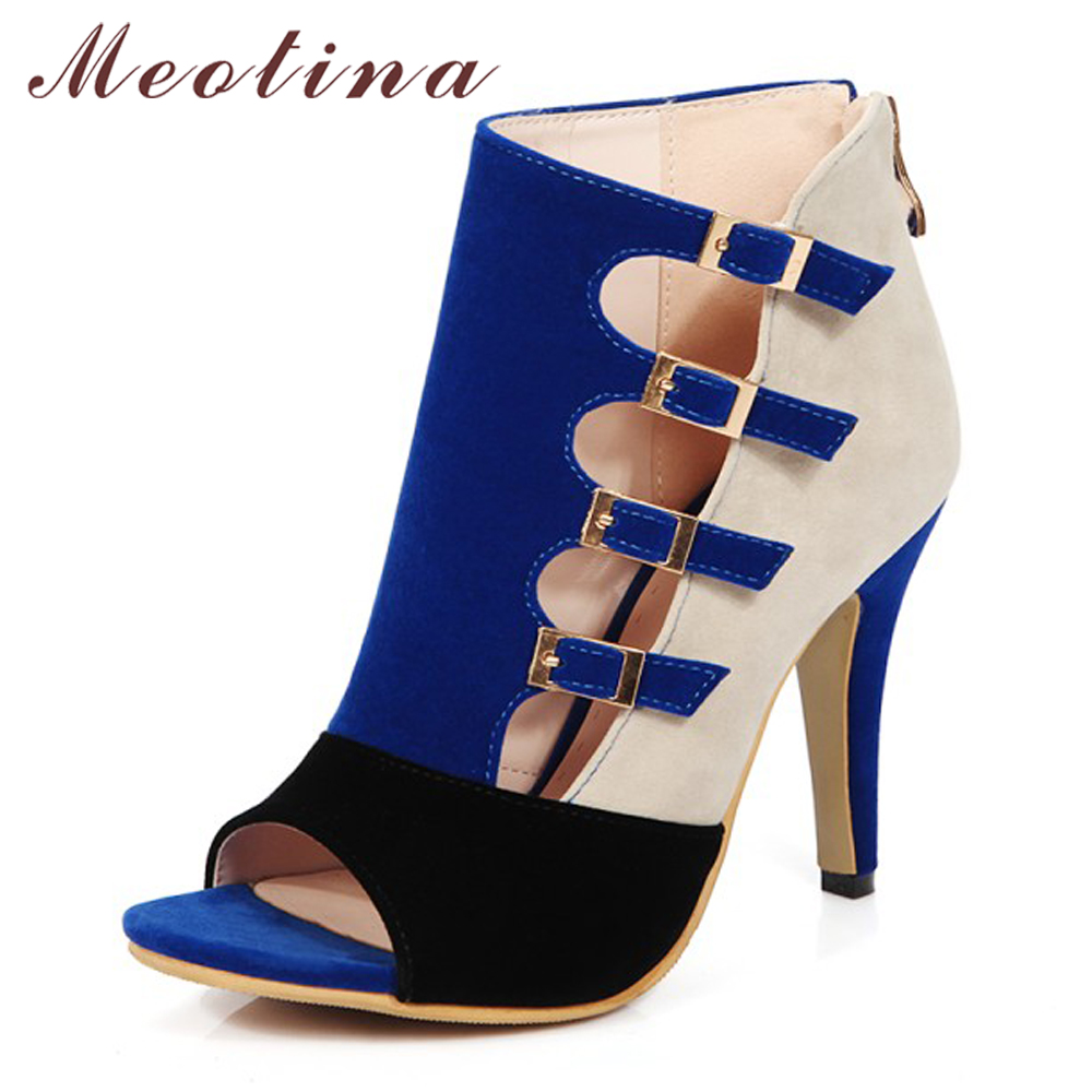 Meotina Women Shoes High Heels Gladiator Shoes Plus Size 34-46 Summer Party Pumps Red Buckle High Heel Shoes Zip chaussure femme shoesofdream women s leisure 2015 opened pointed toe zip casual gladiator summer large size high heels eu size 34 46