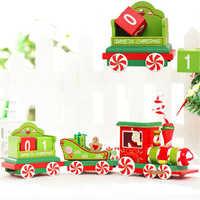 Nouvelle Qualité De Noël Train En Bois Train De Noël Ornements De Noël Pendentif De Noël 33.4x6.5x10 cm Dropshipping & 109