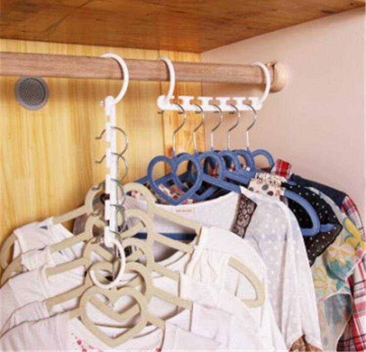 2Pcs Hanger Hook Holder Space Saving Hanger Magic Clothes Hanger with Hook Closet Organizer Home Tool Racks 2 Color 689