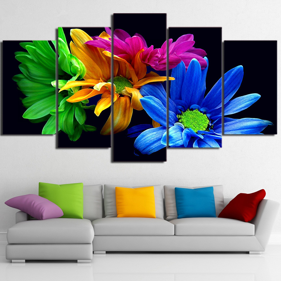Canvas Wall Art HD Prints Poster Framework 5 Pieces Color Flowers Painting Modular Daisies Pictures Home Decor For Living Room no frame canvas