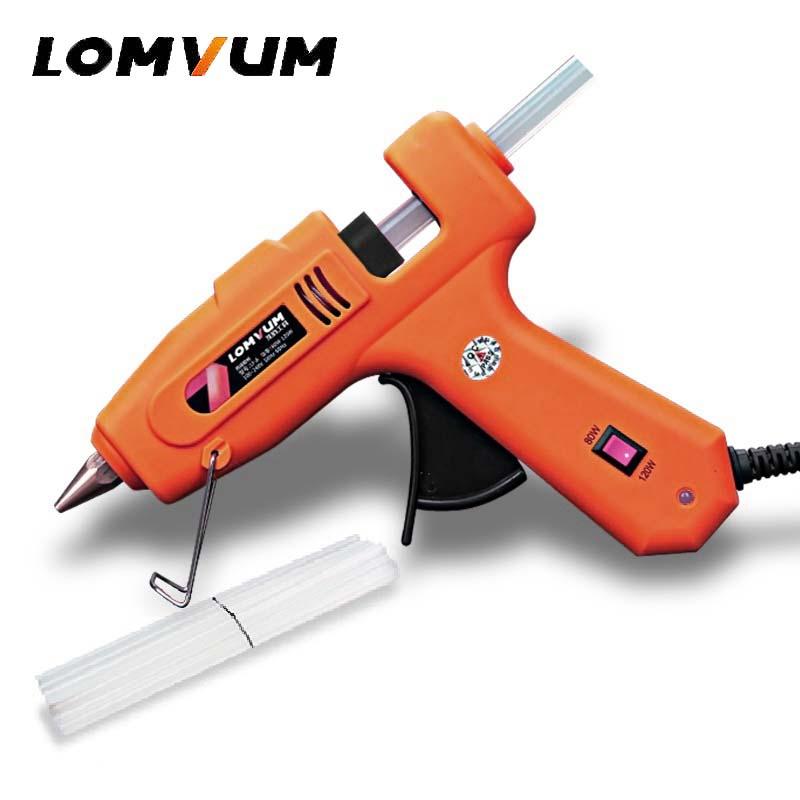 LOMVUM NEUE Farbe Professionelle High Temp Hot Melt Kleber Pistole 30 watt Graft Pistole Pneumatische DIY Werkzeuge Mit 15 kostenloser Kleber Sticks
