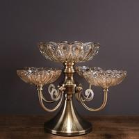 Американский кристалл стеклянная ваза для фруктов модель дома гостиная журнальный столик двойной декоративная ваза для Фруктов Украшения