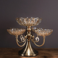 American crystal glass fruit bowl home model room living room coffee table double fruit plate decoration ornaments ZP3181632