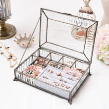 Europe Big size Glass Jewelry Box Earings Storage Box Acrilic Transparent Glass with Golden Border Make Up Cosmetic Organizer