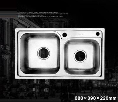 (680*390*220mm) Cobbe 304 acier inoxydable brossé évier mélangeur Undermount Double bol évier ensemble pour cuisine rectangulaire évier - 2
