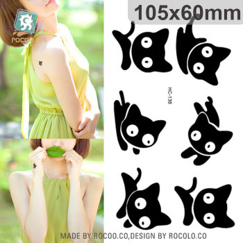 цена на HC-138 Sexy Cute Black Little Cat Design Temporary Tattoo Sticker Men Body Art Fake Tattoo Waterproof Tattoo Sticker Women