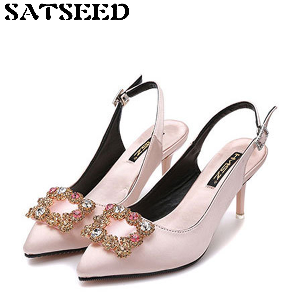 2017 New European Women Shoes Pumps Buckle Rhinestone High-heeled Shallow Mouth Fine Pointed Red Satin Wedding Spring Crystal koovan women pumps 2017 spring new shallow mouth pointed shoes heel pearl buckle with high heeled ladies shoes