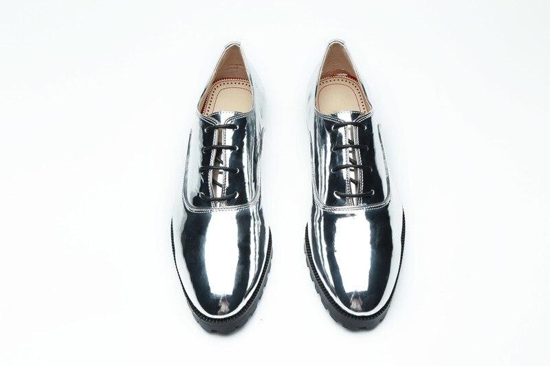 Brillante Lujo Lace De Marca Beertola Señora Pie Up Mujer Del Dedo Casuales Nueva Redondo Zapatos Charol Plata Planos Ocio w885BqC