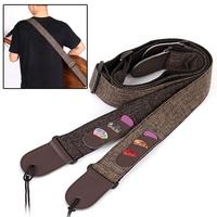 Yuker New Guitar Strap Multifunction Linen Cowhide Guitarra Pick Holder Straps With 3 Pick For Electric