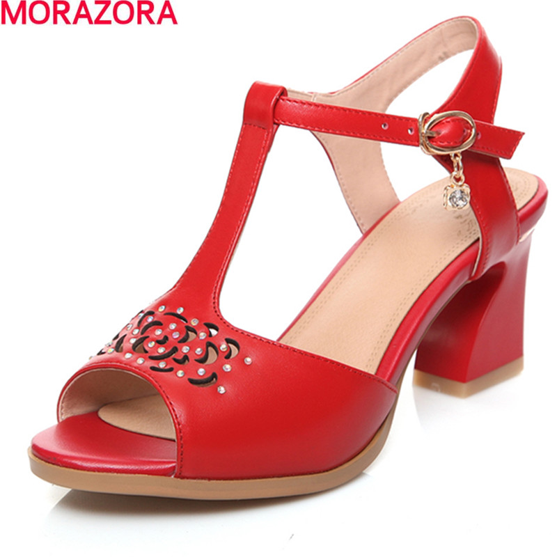 MORAZOR A Big size 2017 new hot sale genuine leather summer shoes woman thick high heels open toe ankle strap women sandals size 30 43 woman ankle strap high heel sandals new arrival hot sale fashion office summer women casual women shoes p19266