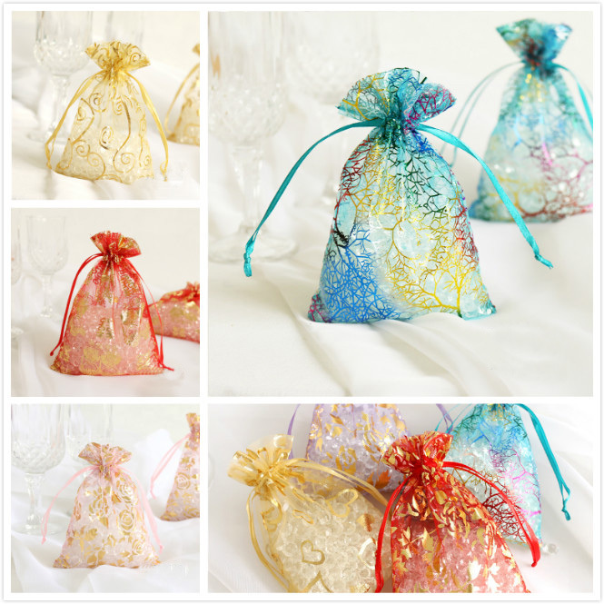 50ps 12color organza wedding favor candy gift bags jewellery pouches