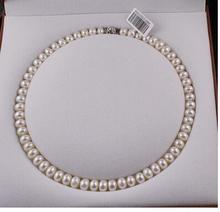 925 silver real AAA Natural 8-9MM Freshwater Pearl Necklace Fashion Jewelry 18inch wholesale стоимость