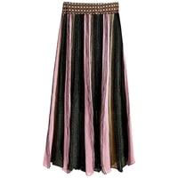 Qooth 2019 New Skirts Designer Runway Summer Women Knitted Skirt Elegant Vintage Color Patchwork Striped Fashion Skirts QH1811