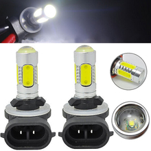 цена на New 1 Pair 7.5W 881 COB LED Fog Light 12V H27W 886 889 894 896 898 Car Auto White Daytime Running Lamp DRL Bulb