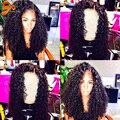 7A Malasio Profunda Pelo Rizado Encaje Completo Pelucas de Cabello Humano Virgen Rizado Del Pelo humano Del Frente Del Cordón Pelucas Para Mujer Negro Con El Bebé pelo