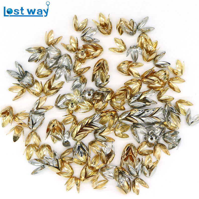 8mm Wholesale 100 150pcs lot Silver Gold Plated Flower petal Spacer Beads Caps Charms Four leaves