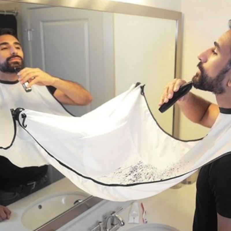 1pc Männer Bärte Rasieren Schürzen Kreative Wand Spiegel Saug Haarschnitt Wrap Cape Hause Salon Schnurrbart Bart Rasieren Schürze