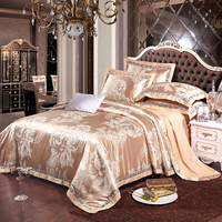 2017 Luxury Silk Cotton Jacquard Bedding Set wide lace Queen King size 4 Pcs Duvet cover set Bed sheet Pillowcase bed linen
