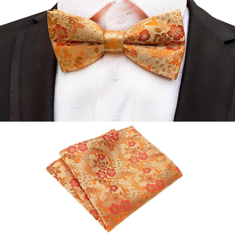 ゴールドボウタイフォーマルペットネクタイペイズリーフラワーネクタイ少年男性のファッションビジネスの結婚式蝶ネクタイ男性ドレスシャツギフトポケット正方形セット