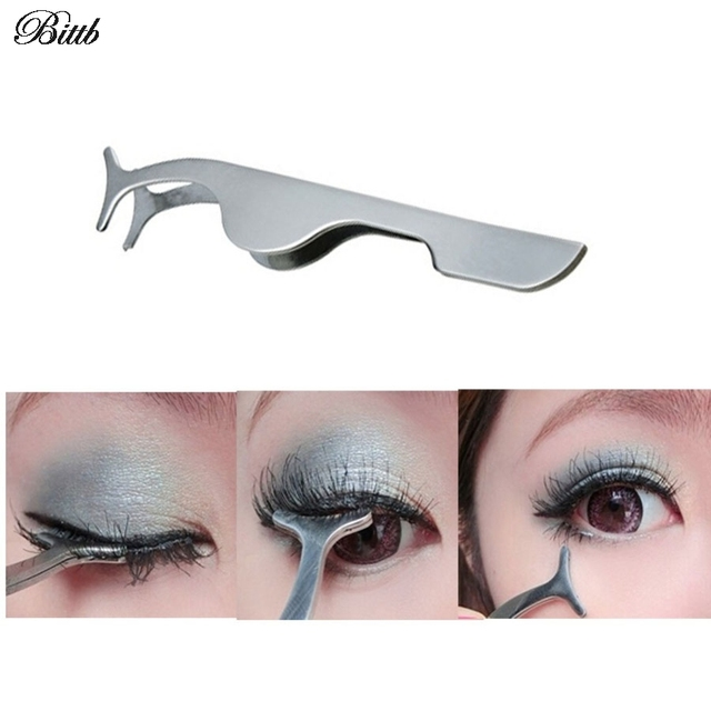 Us 163 18 Offbittb False Eyelashes Clip Extension Stainless Steel Eyelash Applicator Tweezers Tool Professional Beauty Makeup Cosmetic Tools In
