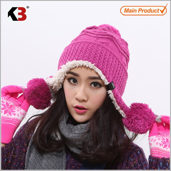 Winter Warm Thick Crochet Knit Pom Pom Beanie Winter Ski Hat with Fleece Lining Windproof (6)
