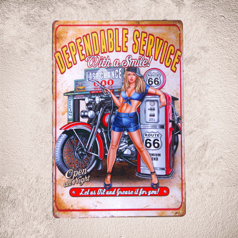 Vintage Metal Tin sign Pin-up Girl Art Poster Beer Pub Art Poster - Տնային դեկոր - Լուսանկար 3