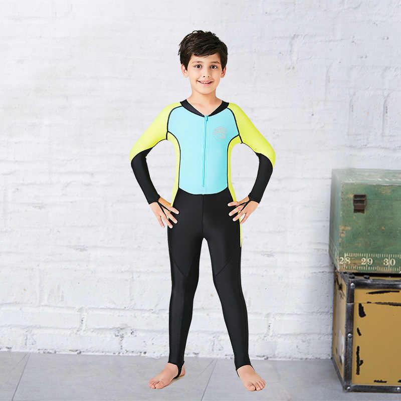 Hisea Çocuk boys Uzun Kollu likra dalgıç kıyafeti Wetsuit Hızlı kuruyan Tek parça UV koruma Mayo