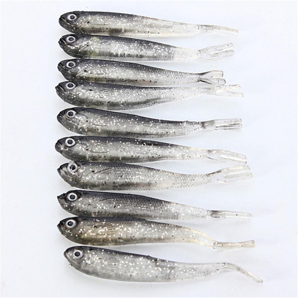 10Pcs 8.0cm Soft Lure Fishing Shad Fishing Worm Swimbaits Jig Head Soft Lure Fly Fishing Bait Fishing Lures