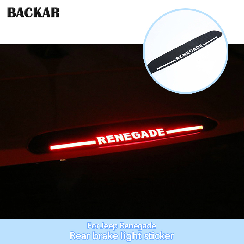 Car Styling 3D Carbon Fiber Stickers Emblems Stickers For JEEP Renegade 2015 2016 2017 Auto High Brake Light Lamp  Accessories