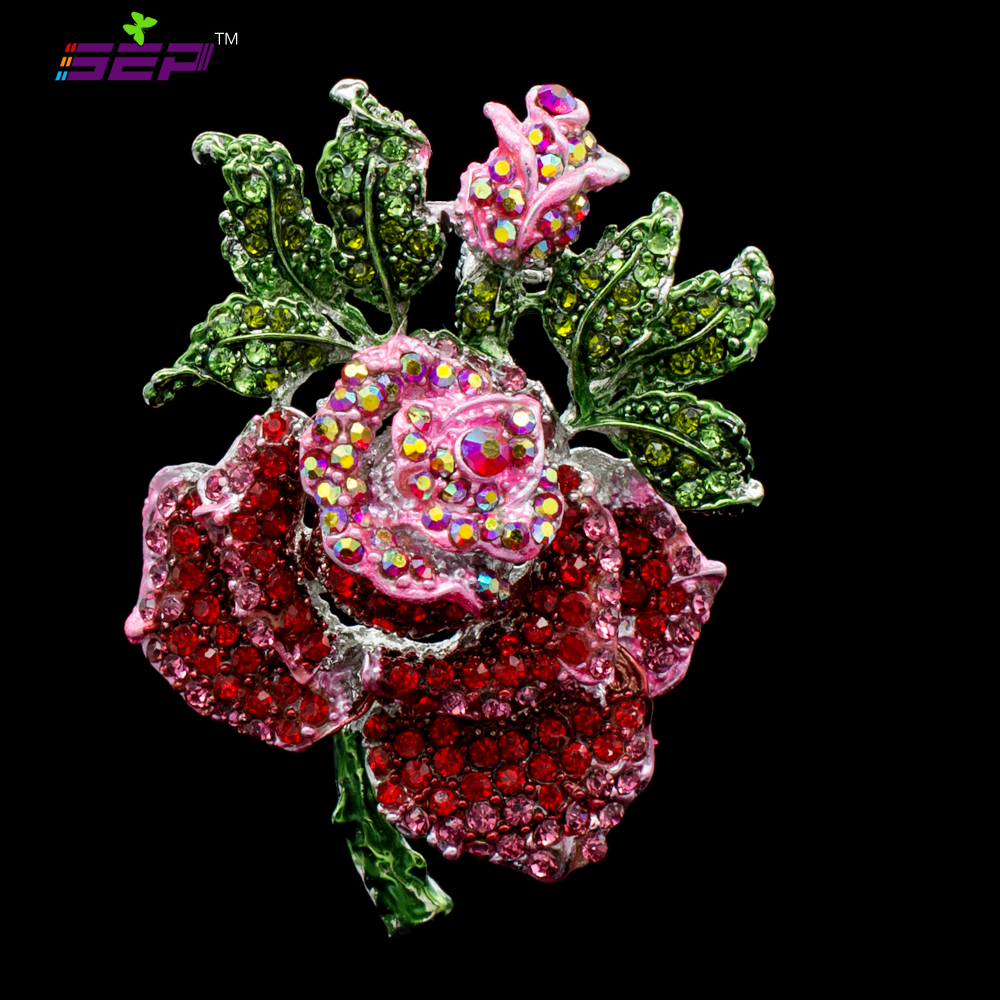 Beautiful Rhinestone Fashion Jewelry Rose Bud Brooches Red Rhinestone Crystal Brooch Pin ...