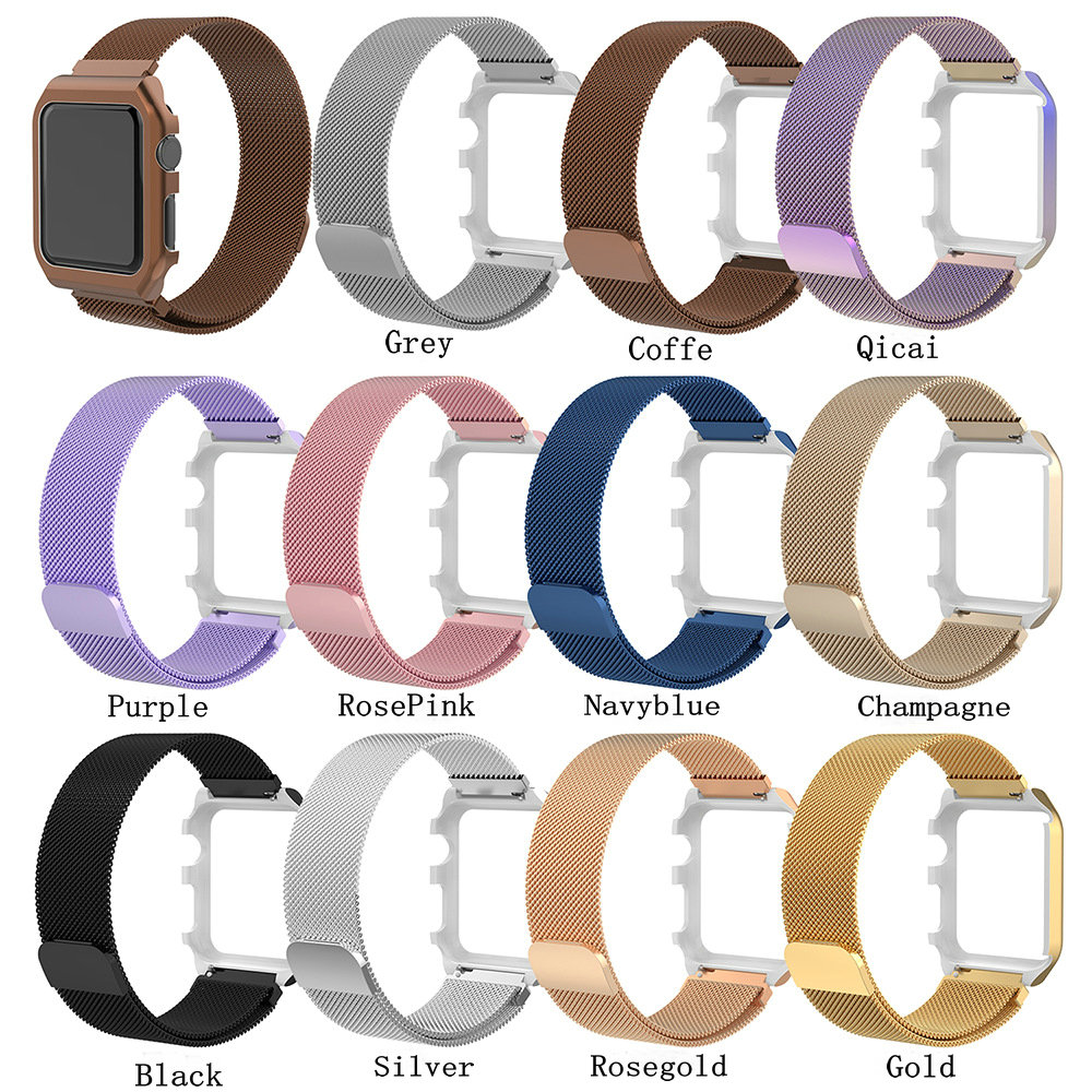 Milanese Loop Band for Apple watch 42mm 38mm Link Bracelet Strap Magnetic adjustable buckle with Frame for iwatch Series 3 2 1 strap