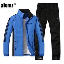 Aismz Brand Men's Sportswear Set Men Active Tracksuits hoodies&Sweatshirts sporting suit Men Jacket And Pants clothing Plus size