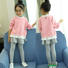 цена Girls Clothes Spring Autumn Kids Fashion Long Sleeved T-shirt+Pants 2pcs Children Clothes Girls Clothing Set 4 6 8 10 12 Years онлайн в 2017 году