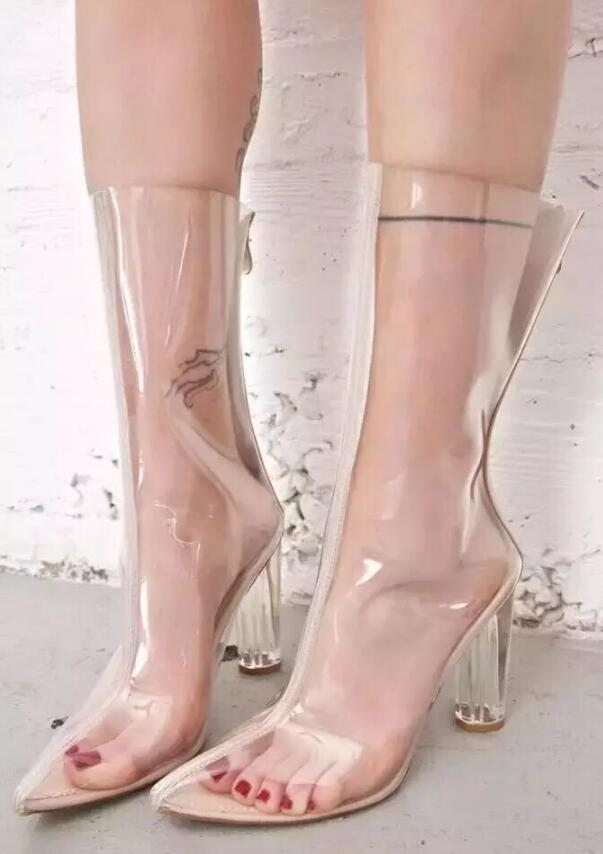 Fashion Transparent Crystal Heels Short Boots Spring Pointed Toe High Heel Shoes Women Large Size Customzied Party Shoes