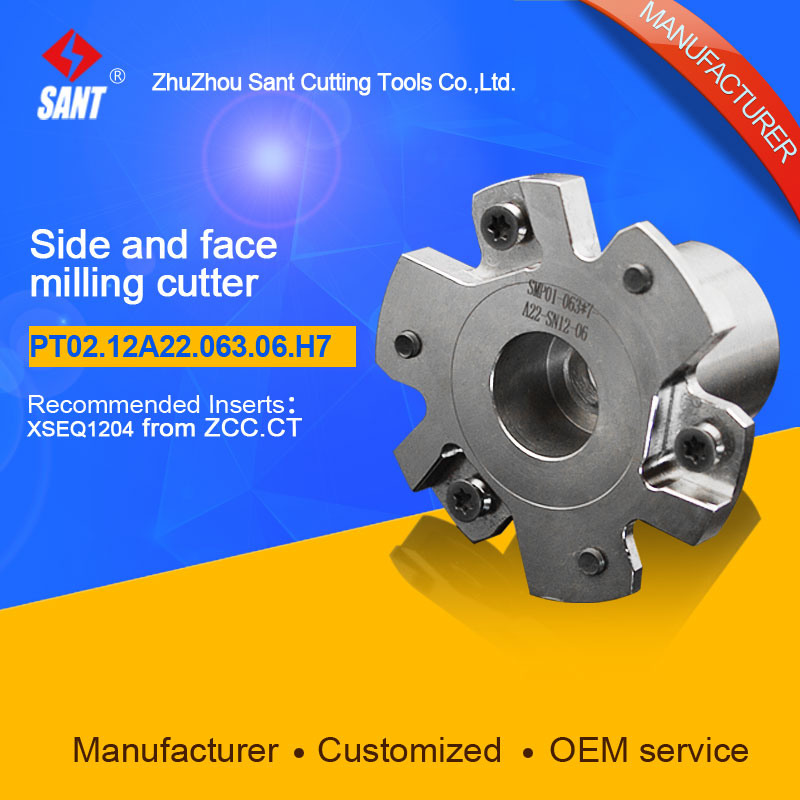 Indexable milling cutter Match insert XSEQ1204 Side and face milling cutter disc PT02.12A22.063.06.H7/SMP01-063X7-A22-SN12-06