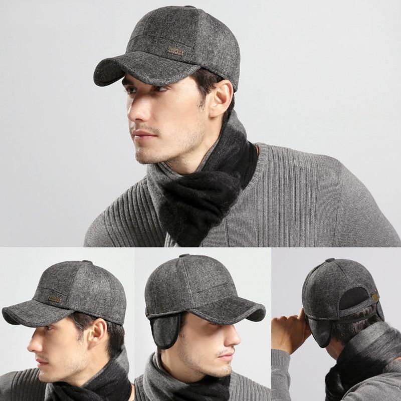 e1f7301d Mens Baseball Cap Wool Feel Baseball Cap Russia Winter Hats Warm ...