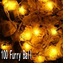 10M 100Leds Snowflake Furry Ball Chuzzle Ball String Light for Indoor and Outdoor Home Lawn Garden Patio Party and Halloween