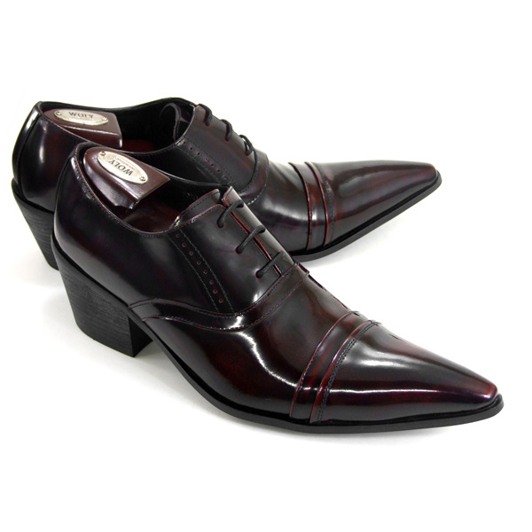 Elegant Pointed The Chunky High Heels Men Dress Shoes Lace Up Oxford