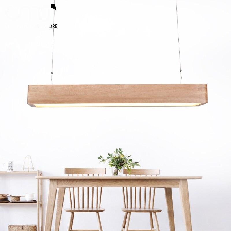 Rechteckigen Pendnat Leuchtet Massivem Holz Japanischen Pendelleuchte Massivholz Bar Einfache Nordic FHRTE Restaurant Lampe Br