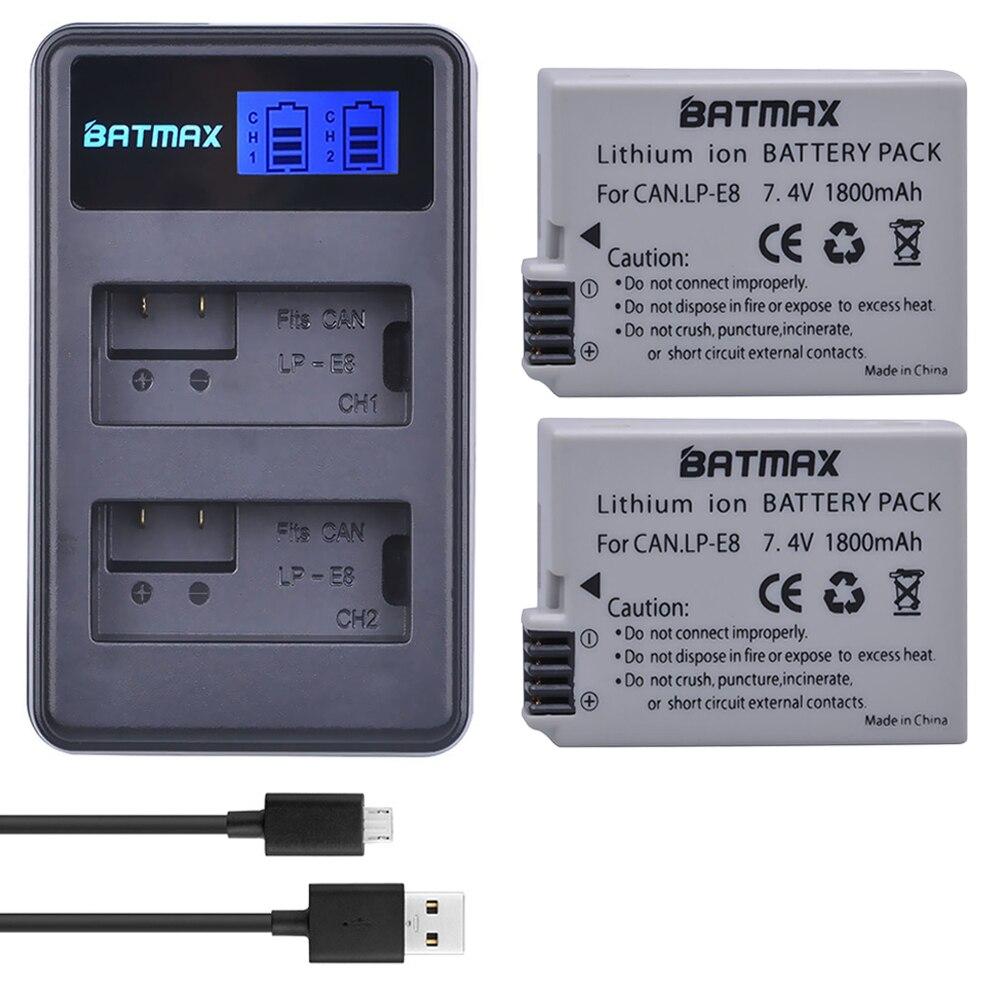 2 Pçs 1800mah LP-E8 Lpe8 Lp E8 Bateria Batterie Akku + Lcd Carregador Duplo Para Canon Eos 550d 600d 650d 700d X4 X5 X6i X7i T2i T3i