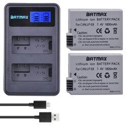 2Pcs 1800 MAh LP-E8 LPE8 LP E8 Baterai Baterai Akku + LCD Dual Charger untuk Canon EOS 550D 600D 650D 700D X4 X5 X6i X7i T2i T3i
